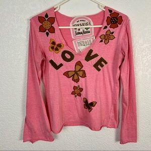 Joystick Johnny Was LOVE Embroidered Pink Shirt
